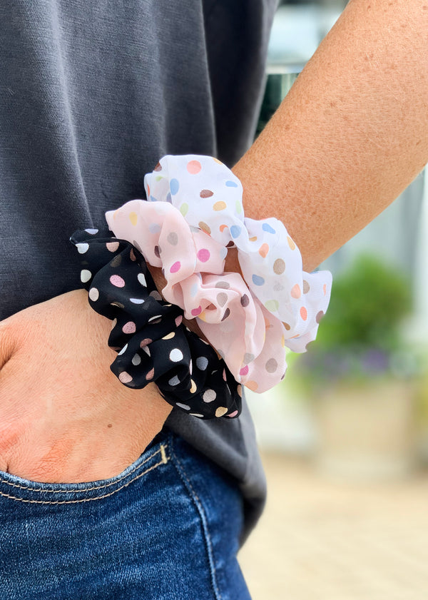 Polka Dot Hair Scrunchies Set - Madison + Mallory