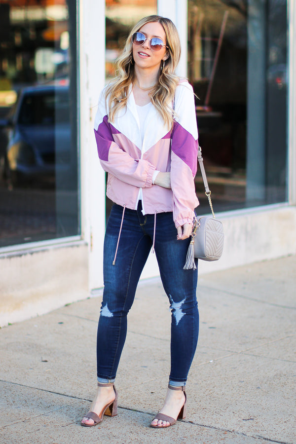 Running Around Town Color Block Windbreaker - Madison + Mallory