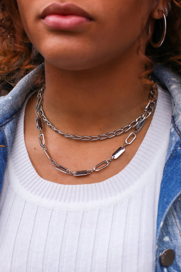 Silver Double Time Layered Chain Necklace - Madison and Mallory