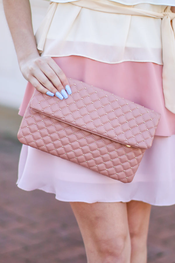 Mauve Party Crasher Quilted Crossbody Clutch - Madison and Mallory