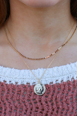 Gold Round Town Coin Layered Necklace - Madison and Mallory