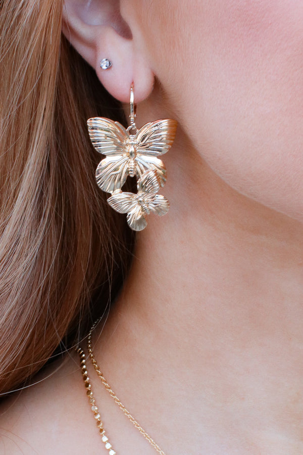 Gold Butterfly Effect Earrings - Madison + Mallory