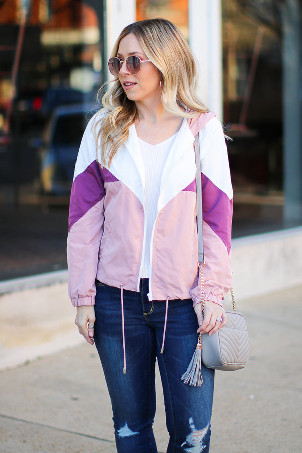Pink / S Running Around Town Color Block Windbreaker - Madison + Mallory