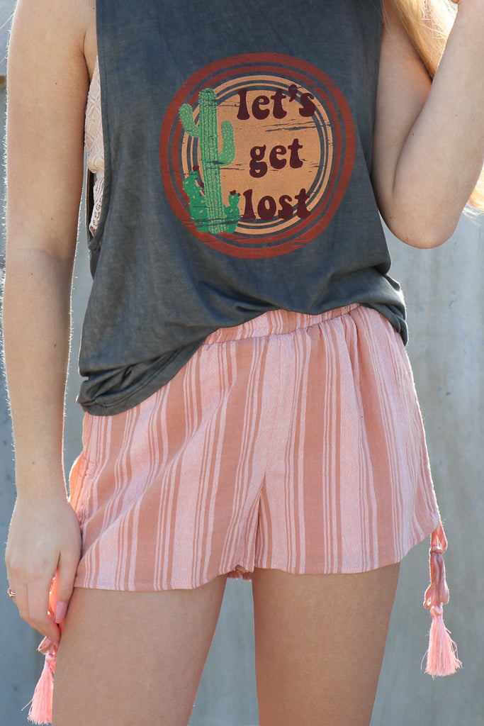 S / Multi Drawstring Tassel Tie Shorts - FINAL SALE - Madison + Mallory