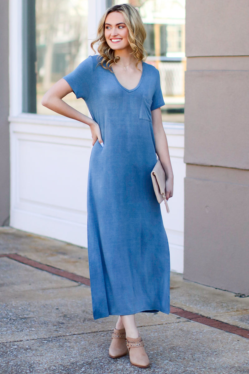 Catch Me Crushing Vintage Wash Maxi Dress - Blue - Madison and Mallory