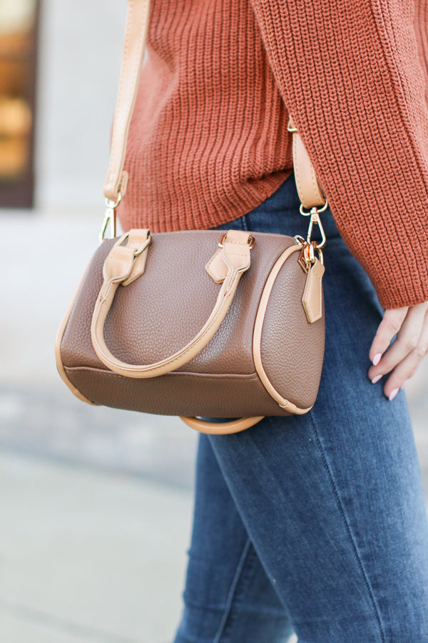 Brown Dev Faux Leather Crossbody Bag - Madison + Mallory