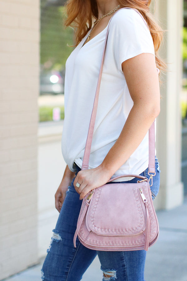 Colby Whipstitch Crossbody Bag - Pink