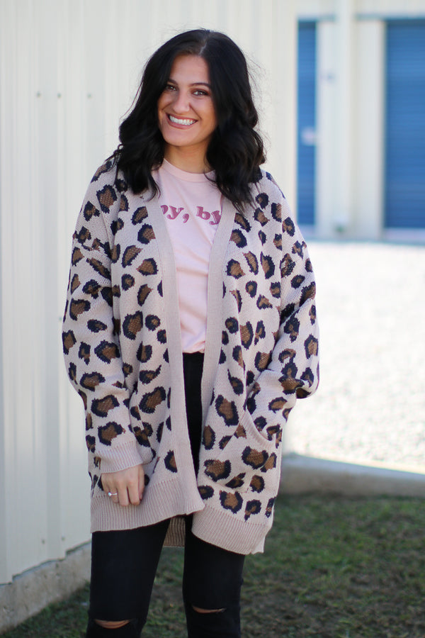 SM / Tan On the Prowl Leopard Cardigan - Madison + Mallory