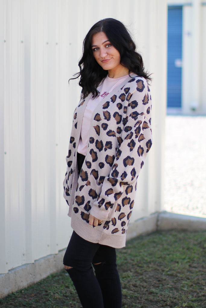 On the Prowl Leopard Cardigan - Tan - Madison + Mallory