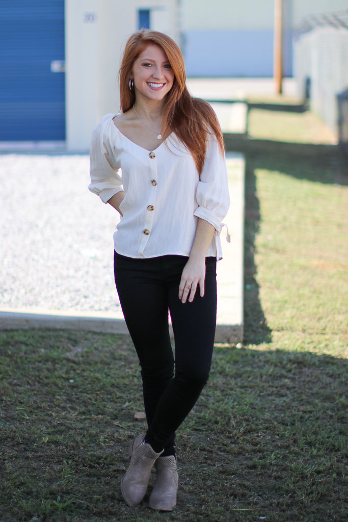 Amia Button Down Tie Sleeve Top - Madison + Mallory