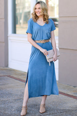 Blue / S Catch Me Crushing Vintage Wash Maxi Dress - Blue - Madison and Mallory