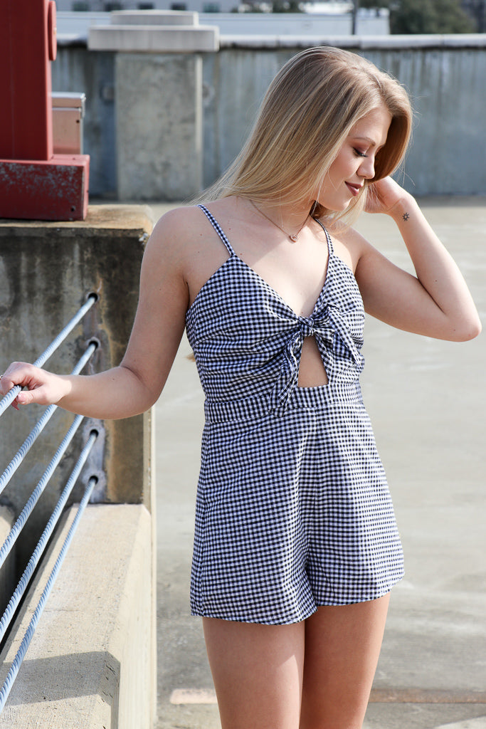 S / Black Tie Front Cutout Gingham Romper - Madison + Mallory