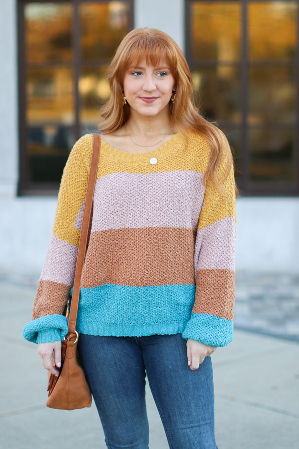 S / Teal Bardonia Multi Color Block Sweater- FINAL SALE - Madison and Mallory