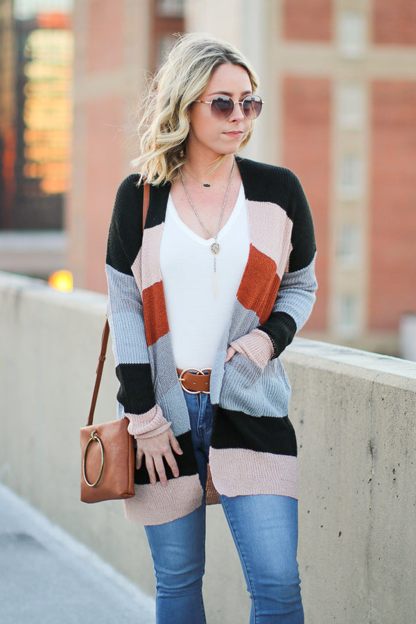 SM / Rust Multi Change of Plans Color Block Cardigan - Madison + Mallory