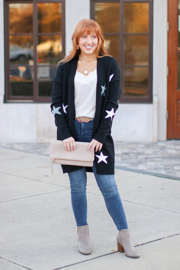 S / Black What's Your Wish Star Print Cardigan - Madison and Mallory