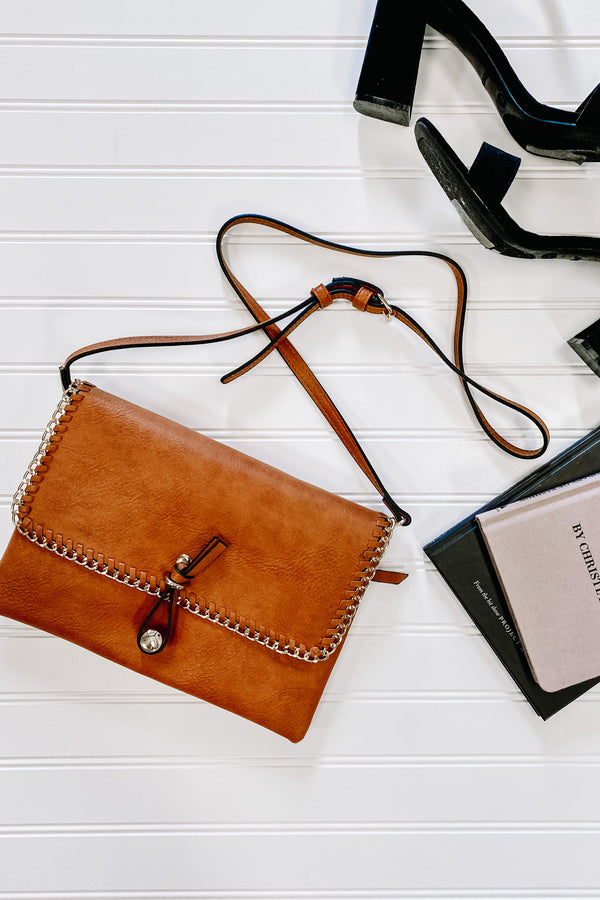 Brown Evalynn Chain Detail Crossbody Clutch - Madison and Mallory