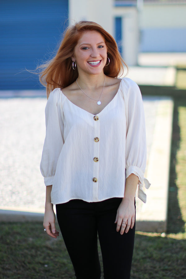 S / Stone Amia Button Down Tie Sleeve Top - Madison + Mallory
