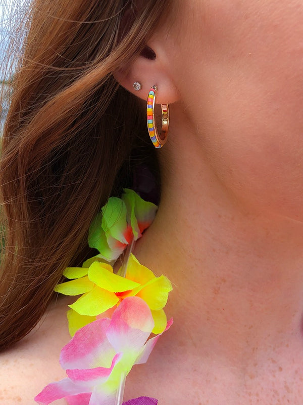 Multi Kelila Multi Color Beaded Hoop Earrings - Madison + Mallory
