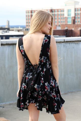 Floral Tie Front Woven Dress