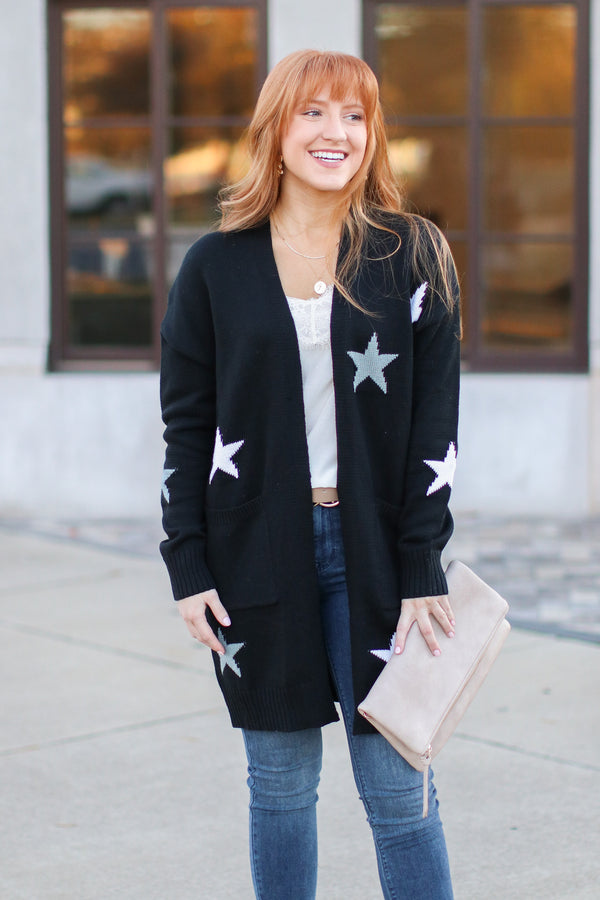 What's Your Wish Star Print Cardigan - Madison and Mallory