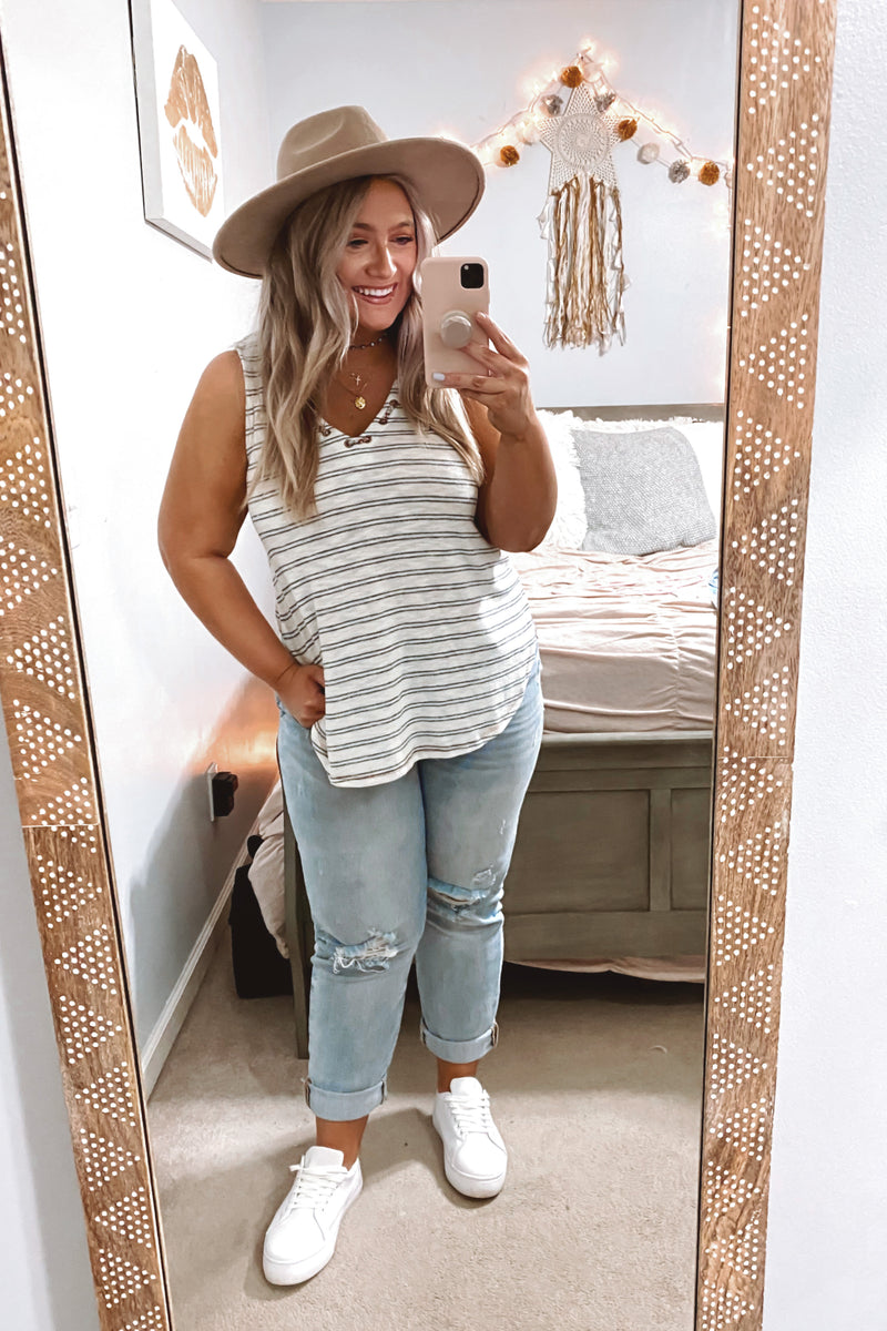 Line by Line Grommet V-Neck Striped Top - Madison and Mallory