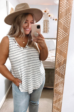 S / Navy Line by Line Grommet V-Neck Striped Top - Madison and Mallory