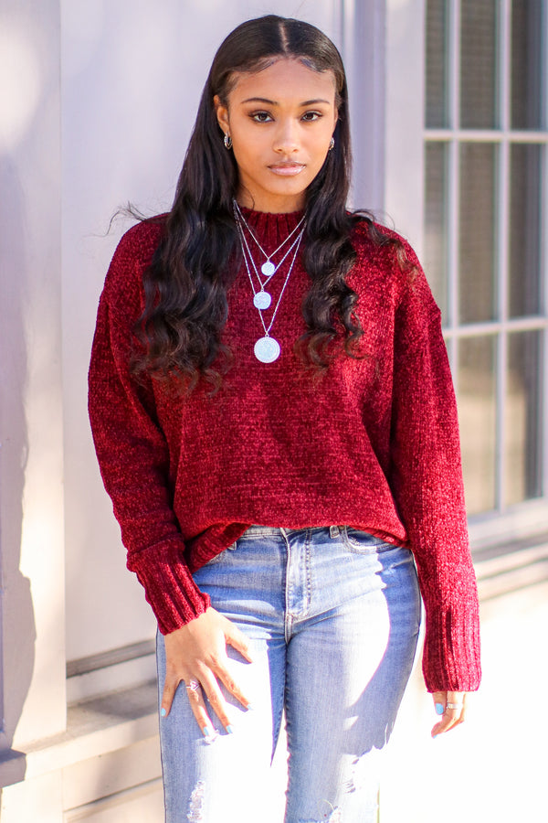 Burgundy / S Lovely Weather Mock Neck Chenille Knit Sweater - Madison and Mallory