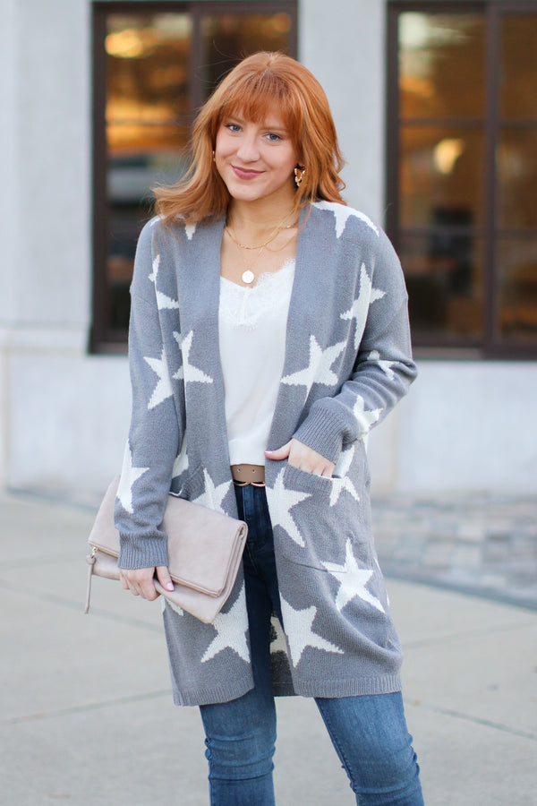 Heather Gray / S North Star Printed Cardigan - Heather Gray - Madison + Mallory