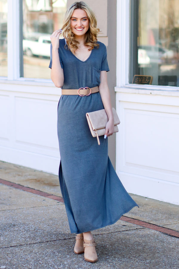 Catch Me Crushing Vintage Wash Maxi Dress - Charcoal - Madison and Mallory
