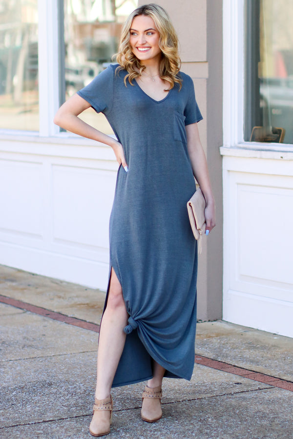 Charcoal / S Catch Me Crushing Vintage Wash Maxi Dress - Charcoal - Madison and Mallory