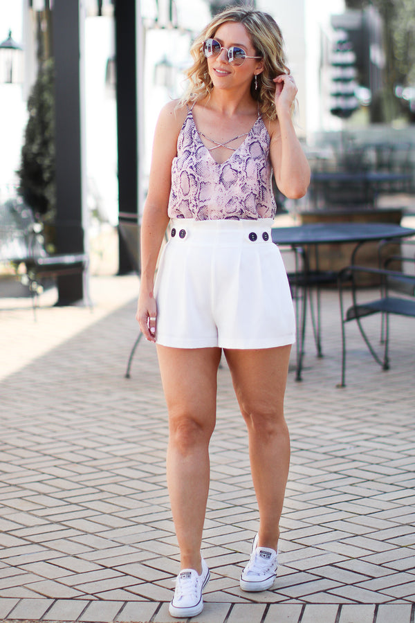 White / S Jerri Paperbag Button Shorts - White - Madison and Mallory