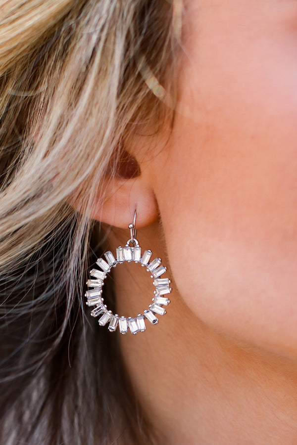 So Shiny Rhinestone Circle Earrings - Madison and Mallory