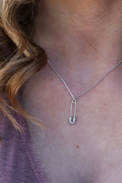 Silver Pinned It CZ Safety Pin Necklace - Madison and Mallory