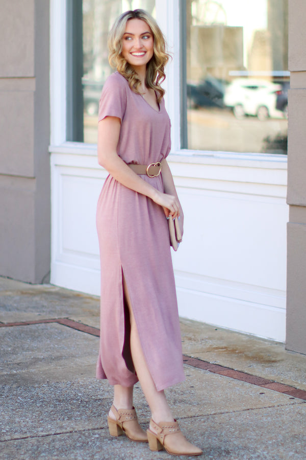 Catch Me Crushing Vintage Wash Maxi Dress - Mauve - Madison and Mallory