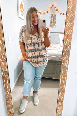 S / Peach Set it Up Tie Dye Top - FINAL SALE - Madison and Mallory