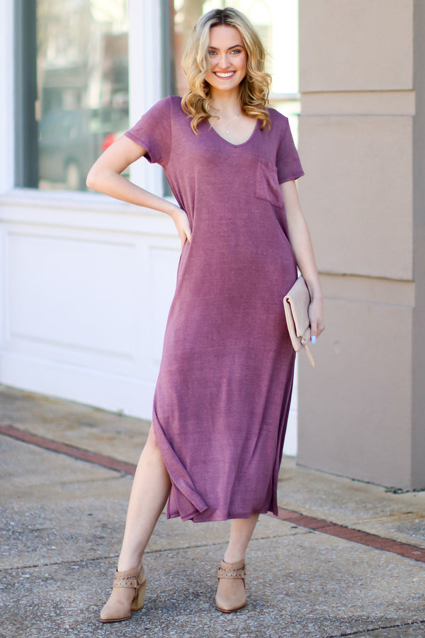 Catch Me Crushing Vintage Wash Maxi Dress - Wine - Madison and Mallory