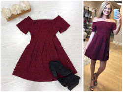 S / Wine Off Shoulder Jacquard  Dress - Madison + Mallory