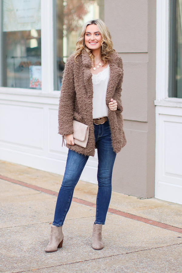 Cozy Goals Faux Fur Jacket - Madison + Mallory