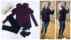 S / Maroon Cold Shoulder Ruffle Trim Sweater - Madison + Mallory