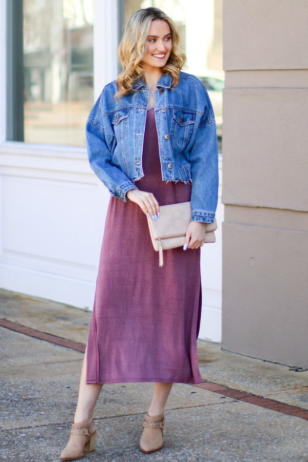 Wine / S Catch Me Crushing Vintage Wash Maxi Dress - Wine - Madison and Mallory