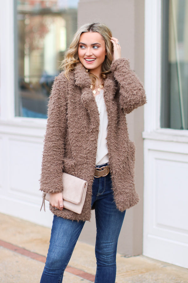 S / Toffee Cozy Goals Faux Fur Jacket - Madison + Mallory