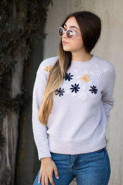 S / Lilac Floral Embroidered Pullover Sweater - Madison + Mallory