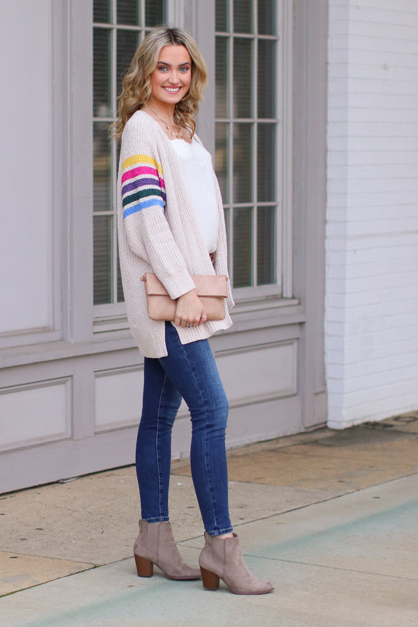 Goodbye to Yesterday Rainbow Stripe Cardigan - Madison and Mallory