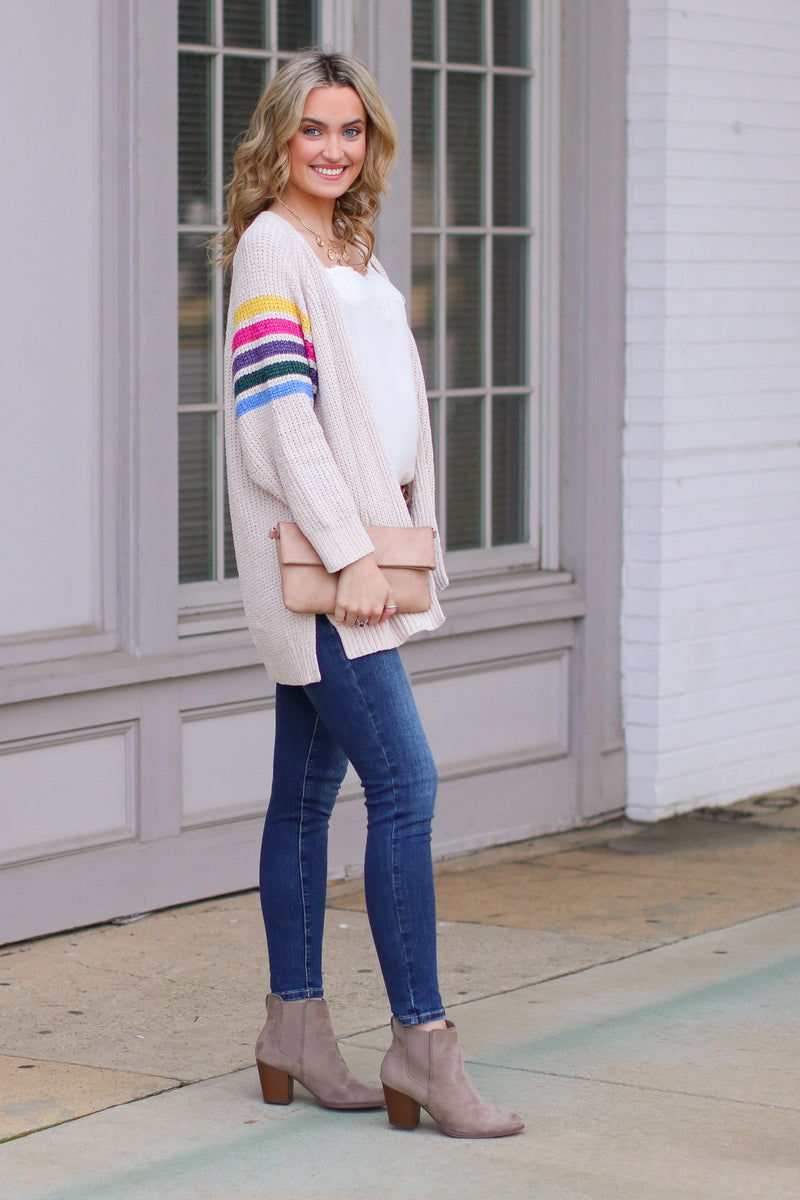 Goodbye to Yesterday Rainbow Stripe Cardigan - FINAL SALE - Madison and Mallory