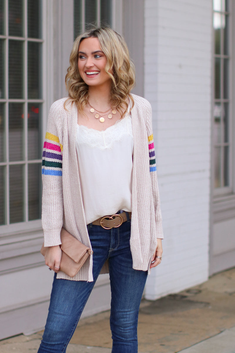 S / Beige Goodbye to Yesterday Rainbow Stripe Cardigan - FINAL SALE - Madison and Mallory