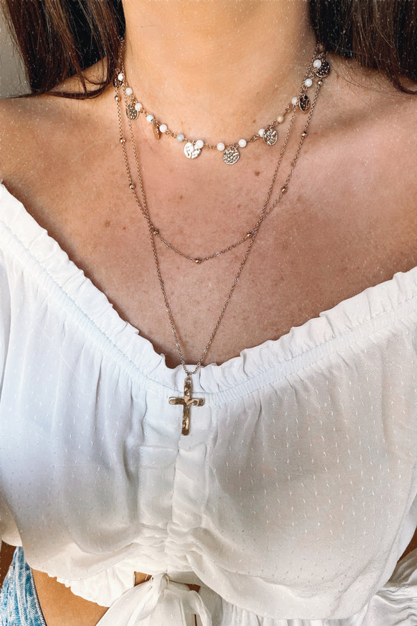 Change for the Better Disc and Cross Layered Necklace - Madison and Mallory