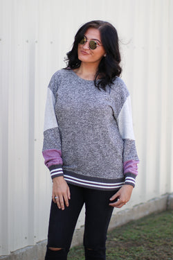 SM / Charcoal Casual Rhythm Color Block Sweatshirt - Madison + Mallory