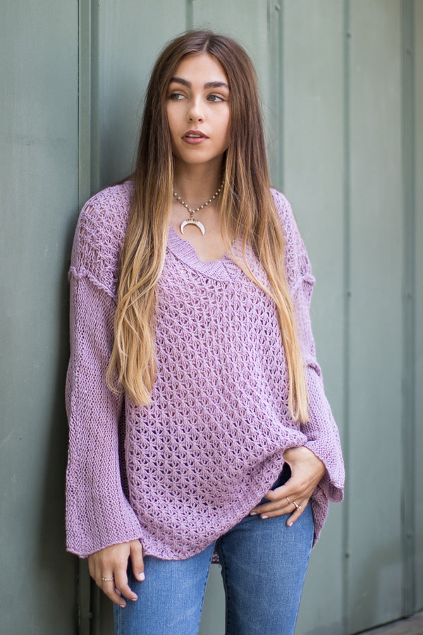 M/L / Lilac V-Neck Open Knit Sweater | Curve - Madison + Mallory