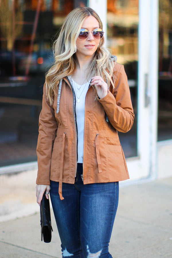Make Plans Layered Utility Jacket - Camel - Madison + Mallory