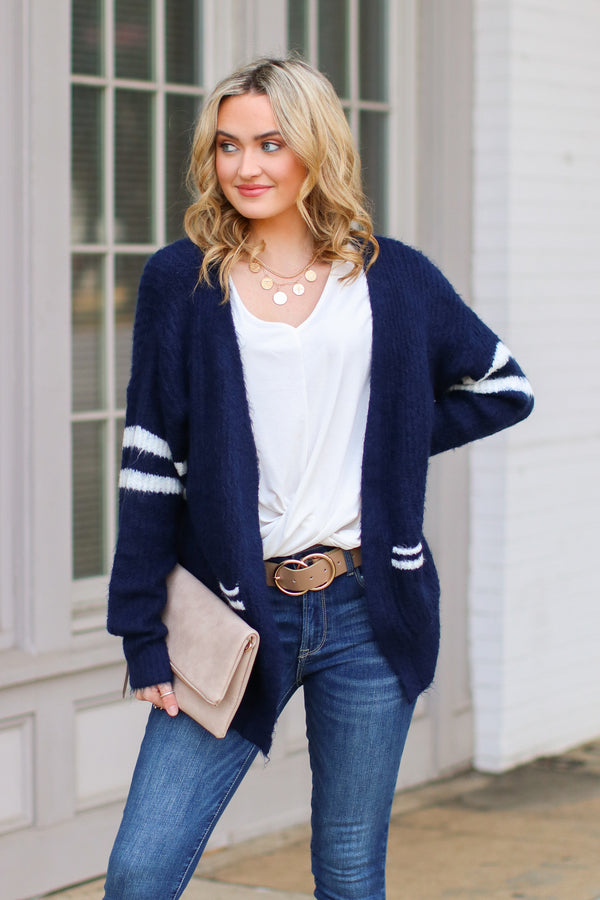Navy / SM Rydian Varsity Striped Cardigan - Navy - Madison + Mallory
